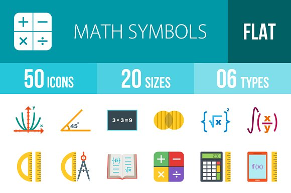 50 Math Symbol Flat Multicolor Icons ~ Icons ~ Creative Market