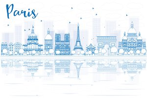 Outline Paris skyline
