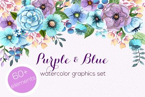 Purple & Blue watercolour set