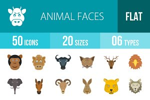 50 Animal Faces Flat Multicolor Icon