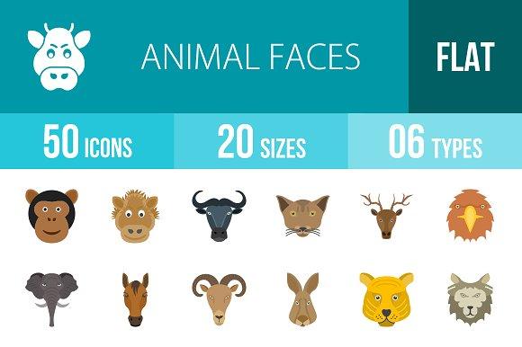 50 Animal Faces Flat Multicolor Icon