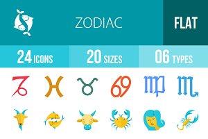 24 Zodiac Flat Multicolor Icons