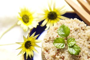 dish of quinoa cooked with pictures tablecloth