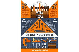 Vector house repair work tools poster