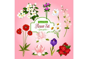 Vector poster of spring garden flowers set
