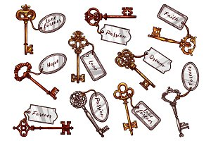 Vector sketch vintage keys with keychain tags