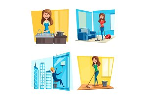House or room cleaning vector flat desing