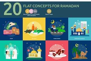 Flat Concept Ramadan and Eid Mubarak