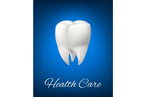 Vector 3D white tooth for dentistry health care