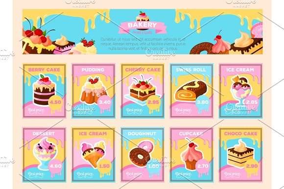Bakery Desserts Vector Price Cards For Shop