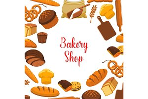 Bakery shop vector poster of baked bread