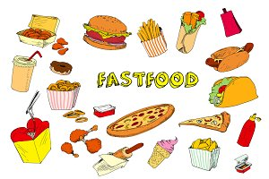 Collection of fastfood