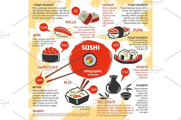 Japanese Sushi Rolls Bar Cuisine Vector Menu