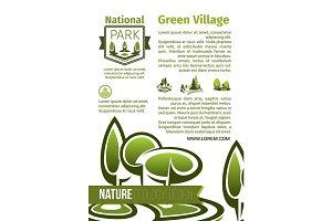 Green parks landscape design vector poster