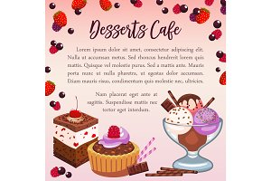 Bakery desserts vector poster for cafe