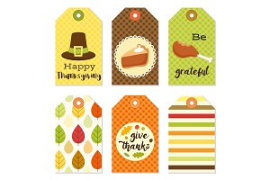 Cute autumn gift tags bundle in traditional colors