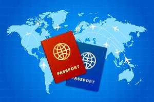 Couple bright passports on world map