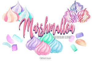 Marshmallow watercolor clipart