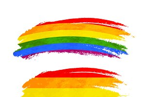 Brush stroke with rainbow flag