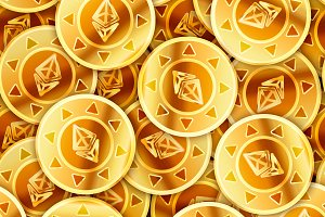 Golden coins with ethereum sign