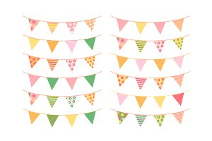 Summer bunting clipart set