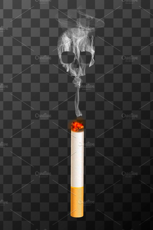 Burning Cigarette With White Smoke
