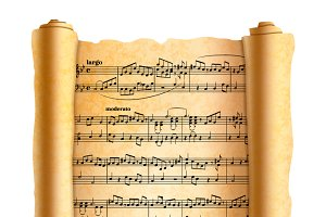 Melody notes on old textured scroll