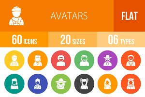 60 Avatars Flat Round Icons