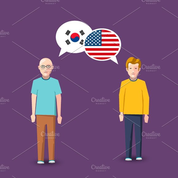 South Korea And USA Speech Bubbles