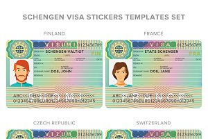 Schengen visa sticker templates