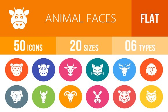 50 Animal Faces Flat Round Icons