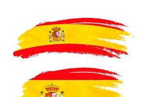 Brush stroke with Spain flag