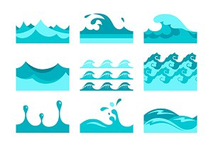Blue wave pattern tiles set