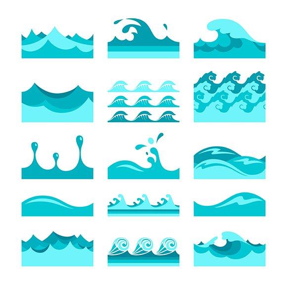 Blue Wave Pattern Tiles Set