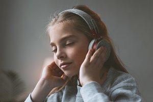 kid girl listening music
