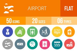50 Airport Flat Round Icons