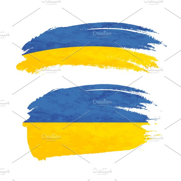 Brush Stroke With Ukraine Flag