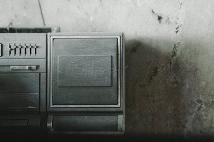 Retro cassette tape recorder. Detail
