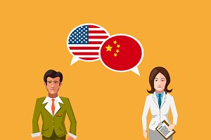 USA and China speech bubbles