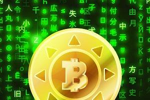 Bitcoin coin on green matrix code