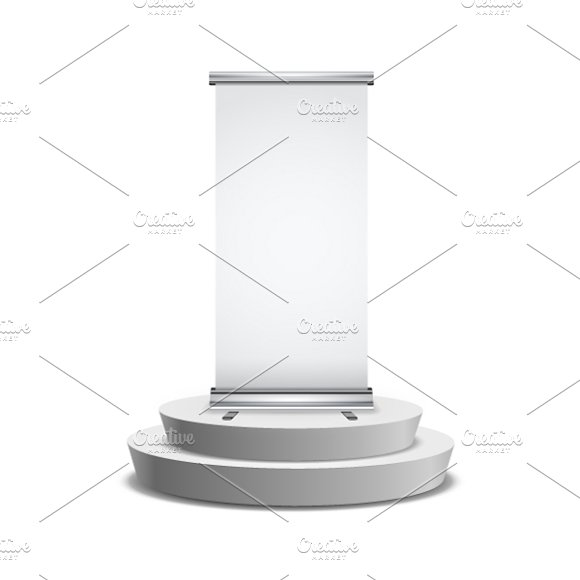 Roll-up Banner On Round Podium