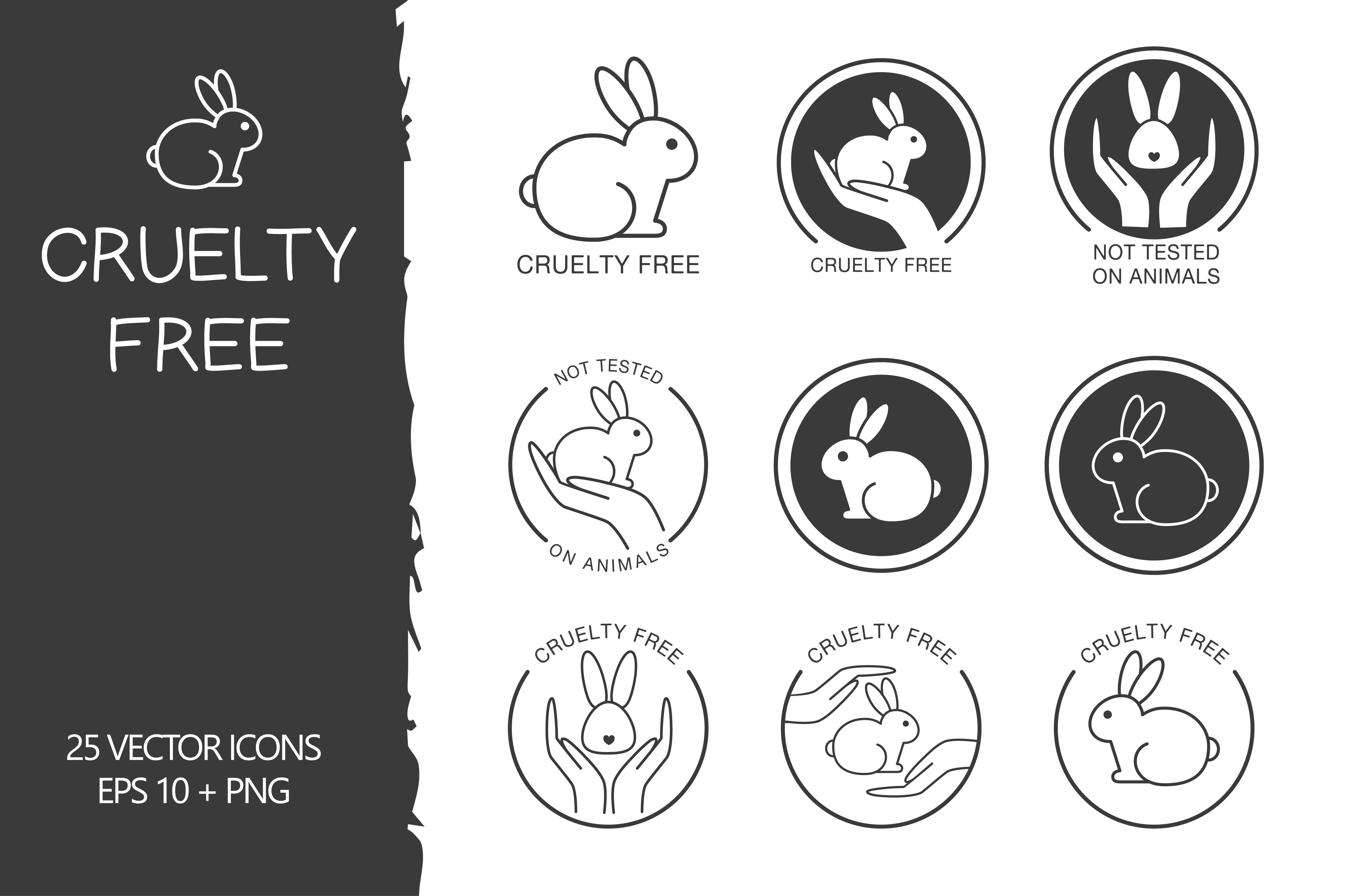 Cruelty Free Set Icons Creative Market