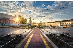 Railway station at sunset in summer in Europe