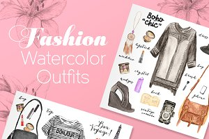 100 watercolor fashion elements