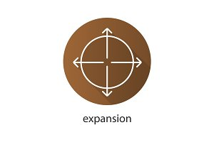 Expansion flat linear long shadow icon