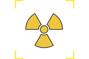 Radiation sign color icon