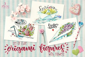 -80% 3 cute origami with flowers