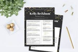 Sparkling Gold Resume Template Pkg.