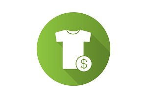 Buy clothes flat design long shadow icon