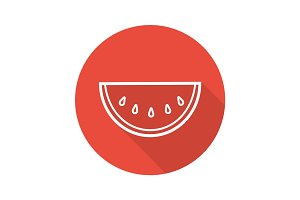 Watermelon slice flat linear long shadow icon